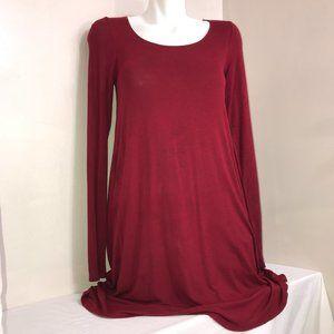Garage Light Burgundy Stretchy Long Sleeve Dress